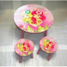 Masuta copii cu 2 scaune Capsunica si Lamaita