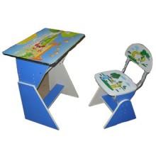 Birou copii albastru cu scaunel reglabil