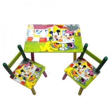 Masuta copii cu 2 scaune Disney Mickey si Minnie Mouse