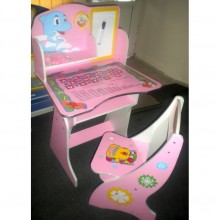 Birou copii cu scaunel reglabil Delfin Roz