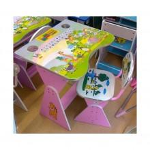 Birou copii cu scaunel reglabil cu pahare roz